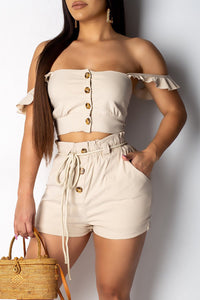 Ootdlady Casual Buttons Decorative Khaki Two-piece Shorts Set
