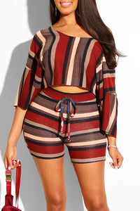 Ootdlady Striped Half Sleeve Two-piece Shorts Set
