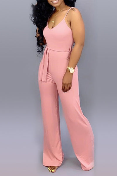 Ootdlady Casual Lace-up Pink One-piece Jumpsuit(With Elastic)
