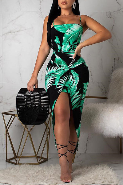 Ootdlady Stylish Printed Asymmetrical Green Ankle Length Dress(With Elastic)