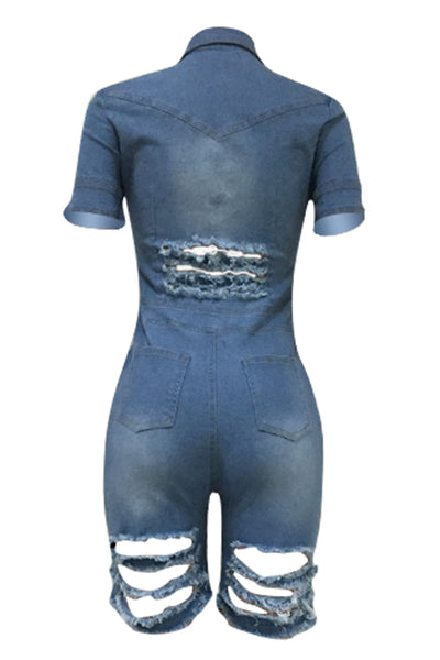 Ootdlady Casual Broken Holes Blue Denim One-piece Romper
