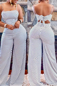 Ootdlady Sexy Dots Printed White One-piece Jumpsuit