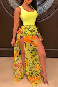 Ootdlady Sexy Tank Sleeveless Side Slit Yellow Floor Length Dress