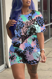 Ootdlady Casual Printed Blue Two-piece Shorts Set