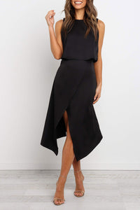Ootdlady O Neck Asymmetrical Black Midi Dress