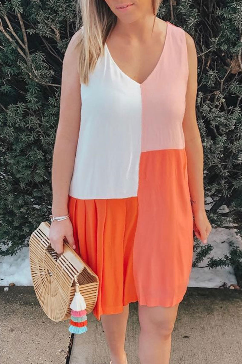 Ootdlady V Neck Patchwork Orange Mini Dress