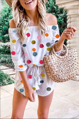 Ootdlady Dot Printed White One-piece Romper