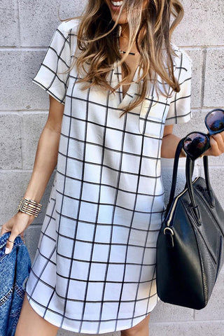 Ootdlady V Neck Plaid Printed White Mini Dress
