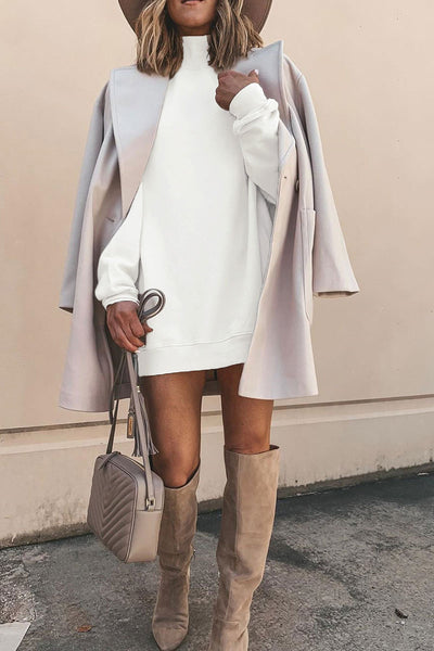 Ootdlady Turtleneck Basic White Mini Dress
