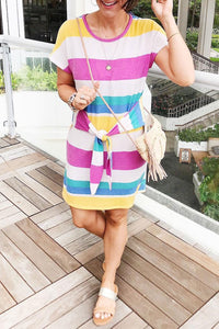 Ootdlady Striped Knot Design Multicolor Mini Dress