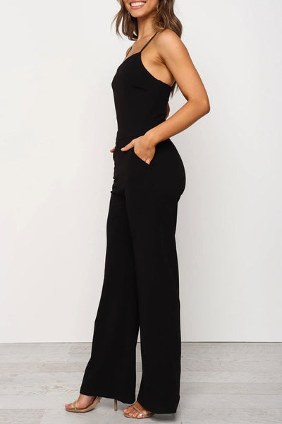 Ootdlady Spaghetti Straps Black One-piece Jumpsuit