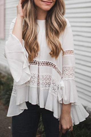 Ootdlady Hollow-out Flounce Design White Blouse