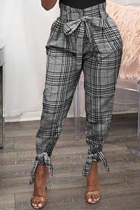 Ootdlady Casual Plaid Printed Grey Pants