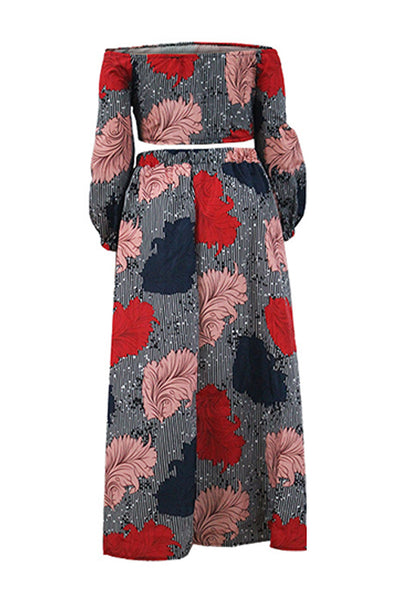 Ootdlady Casual Loose Print Red Plus Size Two-piece Skirt Set