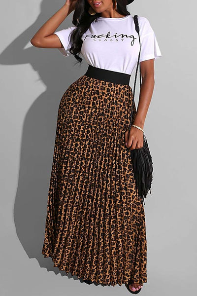 Ootdlady Street Leopard Print White Two-piece Skirt Set