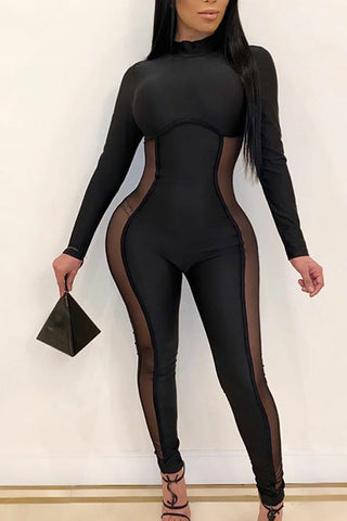 Ootdlady Sexy Patchwork Black One-piece Jumpsuit