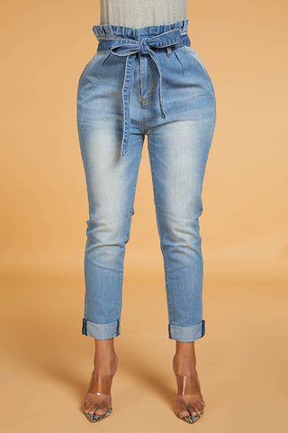 Ootdlady Work Lace-up Blue Jeans