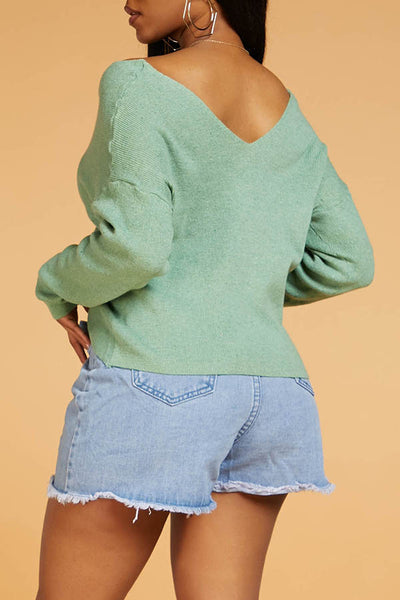 Ootdlady Casual Cross Straps Green Sweater