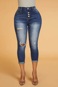 Ootdlady Trendy Broken Holes Blue Denim Jeans
