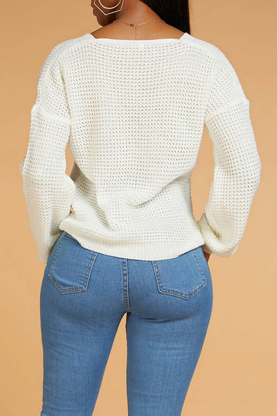 Ootdlady Casual O Neck Cross-over Design White Sweater