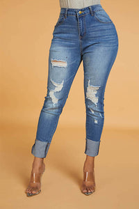 Ootdlady Chic Hollow-out Blue Jeans