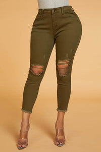 Ootdlady Chic Hollow-out Army Green Jeans