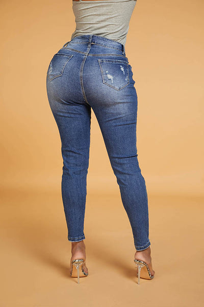 Ootdlady Chic Broken Hole Blue Jeans