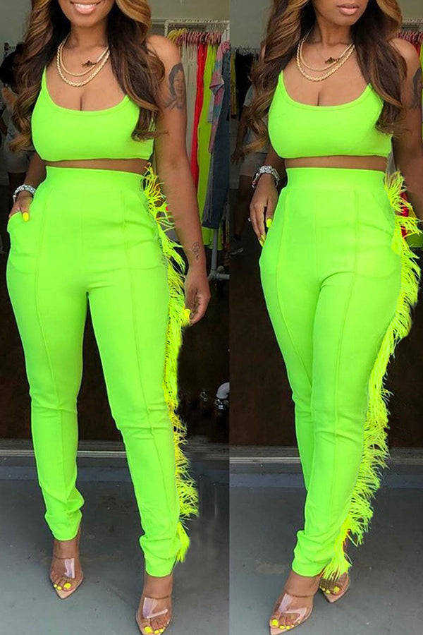 Ootdlady Casual Spaghetti Strap Tassel Green Two-piece Pants Set