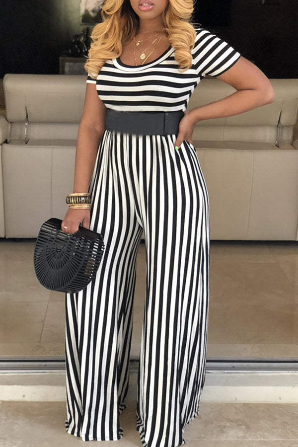 Ootdlady Casual Striped Black One-piece Jumpsuit