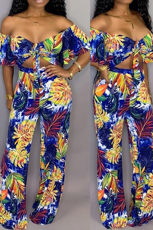 Ootdlady Sexy Print Blue One-piece Jumpsuit