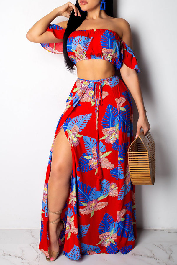 Ootdlady Casual Floral Print Red Two-piece Skirt Set