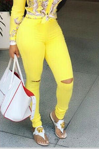 Ootdlady Chic Hollow-out Yellow Jeans