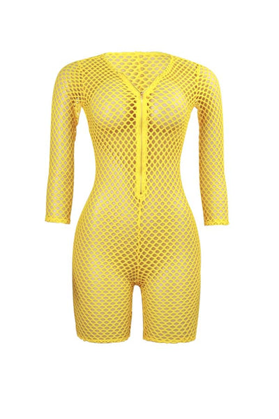 Ootdlady Trendy Hollow-out Yellow One-piece Romper