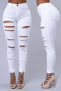 Ootdlady Casual Broken Hole White Pants
