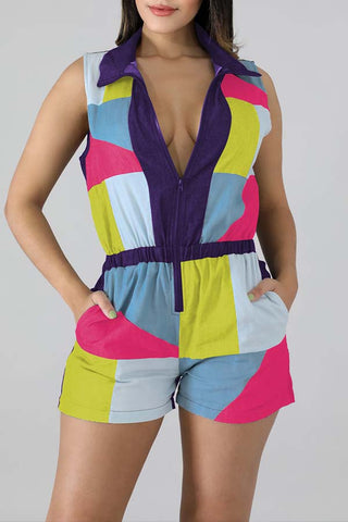 Ootdlady Casual Patchwork Multicolor One-piece Romper