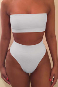 Ootdlady Dew Shoulder White Two-piece Swimsuit