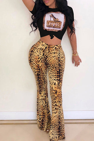 Ootdlady Casual Leopard Print Black Two-piece Pants Set