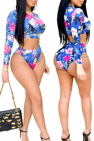 Ootdlady Print Blue Two-piece Swimsuit