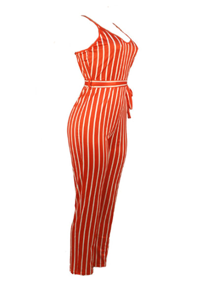 Ootdlady Chic Striped Red One-piece Jumpsuit