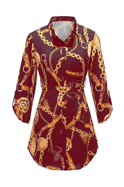 Ootdlady Casual Print Gold Mini Dress