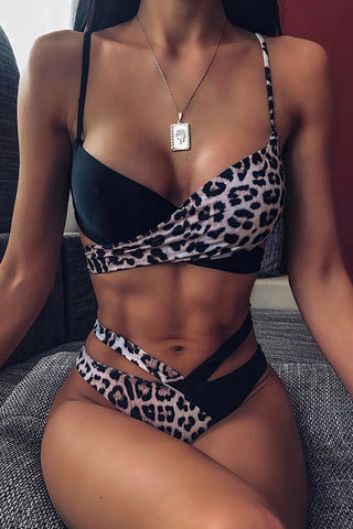 Ootdlady Leopard Print Two-piece Swimsuit