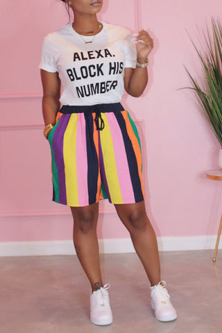 Ootdlady Casual Rainbow Striped Black Two-piece Shorts Set