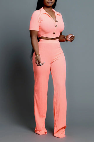 Ootdlady Leisure Buttons Design Pink Two-piece Pants Set
