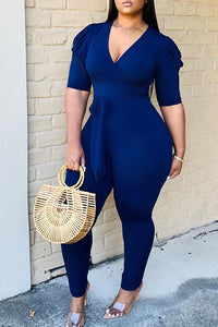 Ootdlady Leisure Lace-up Deep Blue One-piece Jumpsuit