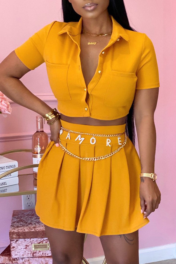 Ootdlady Casual Buttons Design Yellow Two-piece Skirt Set