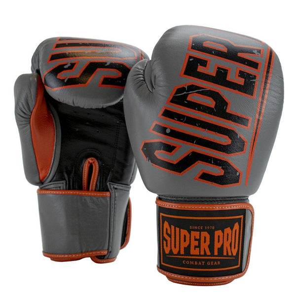 Super Pro Combat Gear Challenger Leder (Thai-)Boxhandschuhe grey/orange/black 12oz , SPBG115-80369-12