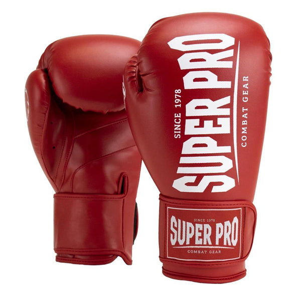 Super Pro Combat Gear Champ (Kick-)Boxhandschuhe red/white 12oz , SPBG120-40100-12 - Fighttrade