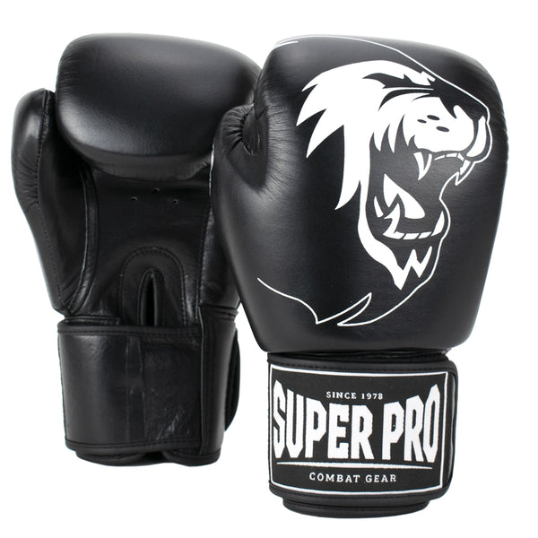 Super Pro Combat Gear Warrior Leder Boxhandschuhe black/white 6oz , SPBG110-90100-6