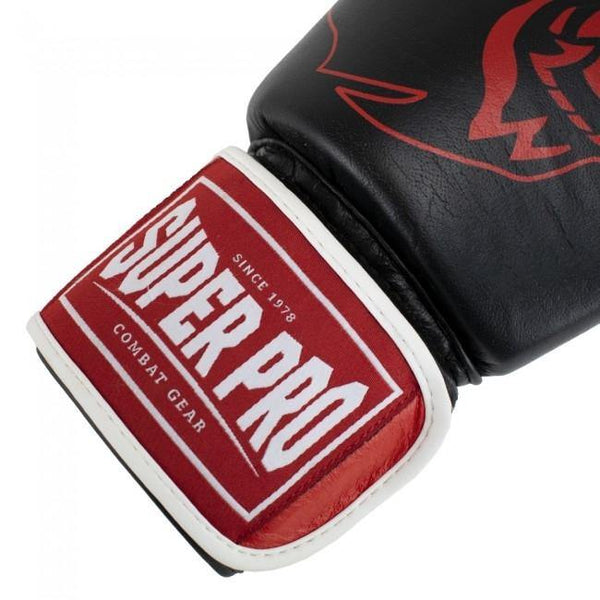 Super Pro Combat Gear Warrior SE Leder Boxhandschuhe black/red/white 12oz , SPBG110-90401-12