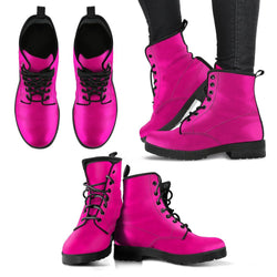 Fashion Women's Leather Boots Magenta Color